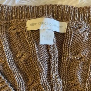 NY&Co Taupe with Gold Dressy Sweater (Size SM)